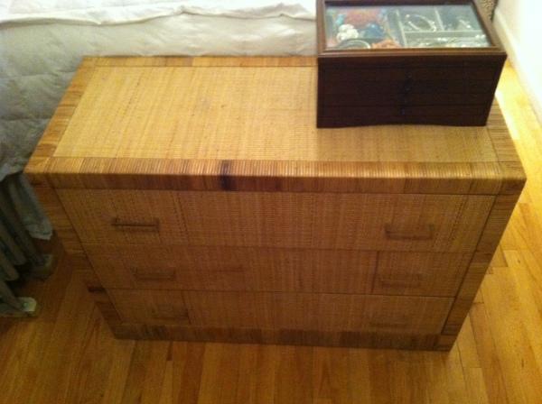 vintage grasscloth dresser